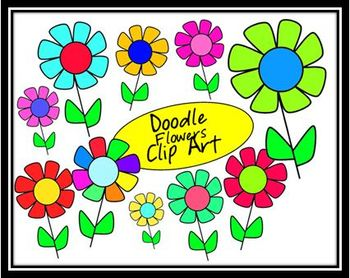 FREE Doodle Flowers with Stems Clip Art