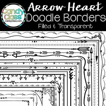 Doodle Borders - Arrow Heart Theme {Filled & Transparent}