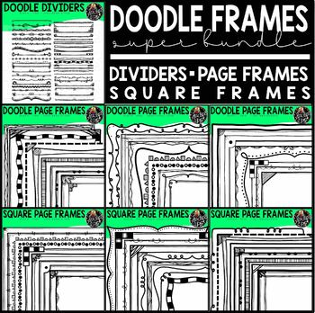 Doodle Frames Clip Art Super Bundle (Hand Drawn Borders, F