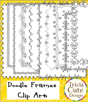 Borders Clip Art frames – in wavy lines, stars and circles