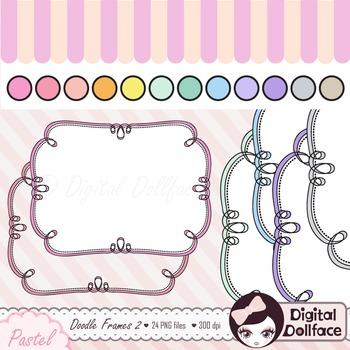 Doodle Frames Clipart / Pastel, Curly Frames / Labels, Dig