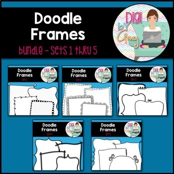 Doodle Frames and Borders clipart - Bundle