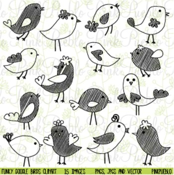 Doodle Funky Birds Clip Art - Commercial and Personal Use