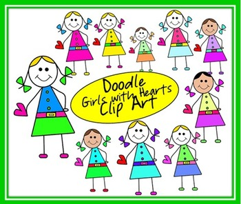 Doodle Girls with Hearts Clip Art
