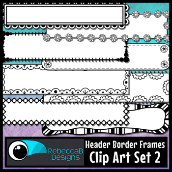 Doodle Headers Clip Art Set 2: Clip Art Headers, Title Frames