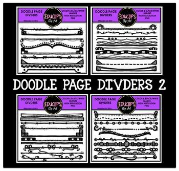 Doodle Page Dividers Clip Art Bundle