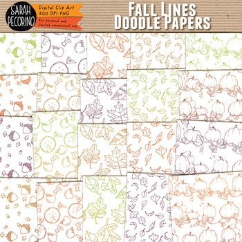 Doodle Paper: Fall Lines Colors and Icons