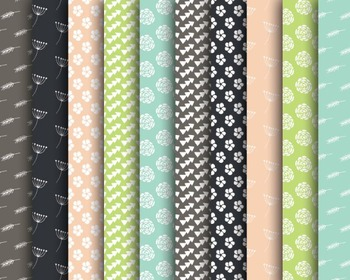 Doodle Pattern Papers, Digital Paper, Flower Papers, Doodl