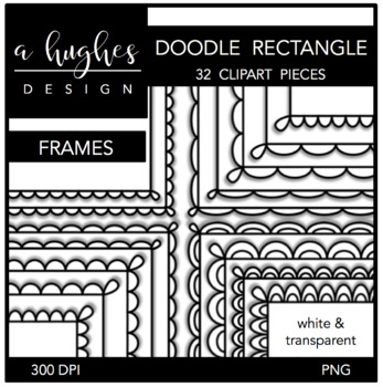 Rectangle Doodle Scallop Frames {Graphics for Commercial Use}