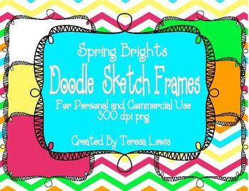 Doodle Sketch Frames Spring Brights