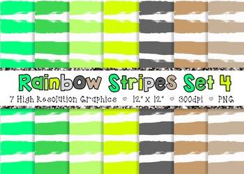 Doodle Stripes Digital Paper Pack Rainbow Colors - Set 4 {