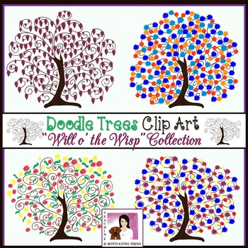 """Doodle Trees Clip Art - Collection One """"Will o' the Wisp"""""""