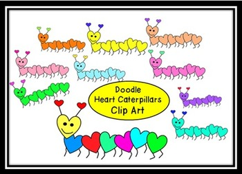 Doodle Valentine Caterpillars Clip Art