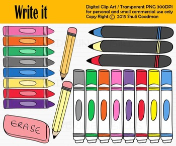Writing Tools clip art - crayons and markers