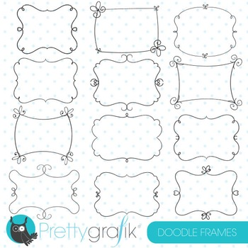 Doodle frames clipart commercial use, vector, digital - CL769