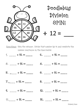 Doodlebug Division Spin!  Dividing by 12 Practice Activity