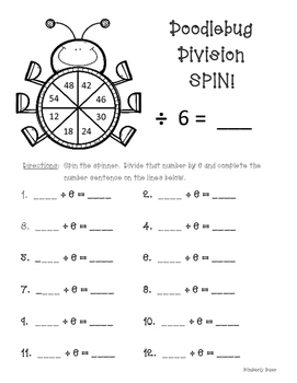 Doodlebug Division Spin!  Dividing by 6 Practice Activity/