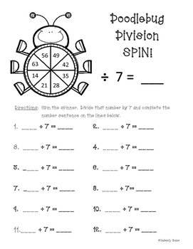 Doodlebug Division Spin! Dividing by 7 Practice Activity/W