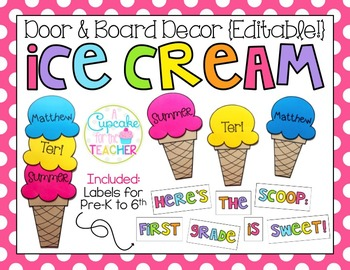 Door & Board Decor {Editable!} Ice Cream Edition