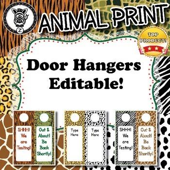 Door Hangers  - Animal Print - ZisforZebra - Editable!