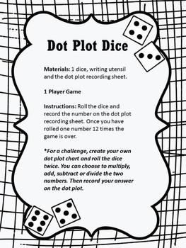 Dot Plot Dice (graphing data)