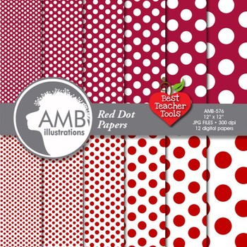 Digital Papers - Dark Red Dot digital paper and background