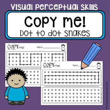 Dot to dot copy practice - Snake pattern - visual skills -