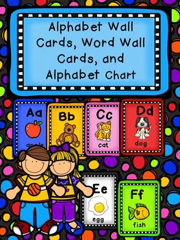 Dots Alphabet Wall Cards, Word Wall Cards, Sorting Cards,
