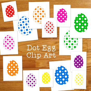 Dots Eggs Clip Art PNG JPG Bright Colors Spring Commercial
