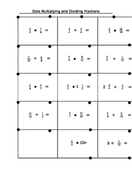 Dots Game Multiplying and Dividing Fractions