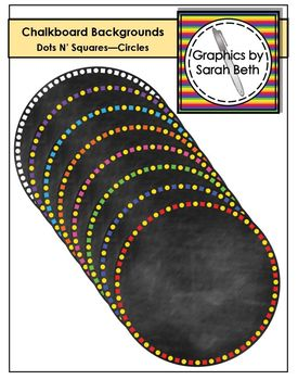 Dots & Squares Circle Chalkboard Backgrounds