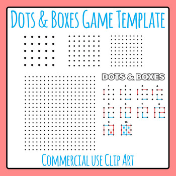 Dots and Boxes Game Template Clip Art for Commercial Use (