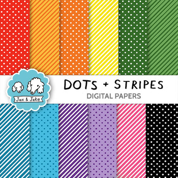 Clip Art: Dots and Stripes Digital Papers for Personal and