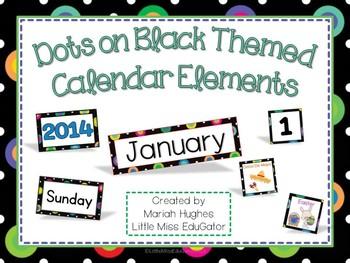 Multi-Colored Polka Dots on Black themed Calendar Kit