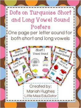 Short and Long Vowel Sound Posters - Multi-Colored Polka D
