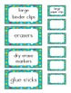 Dots on Turquoise Teacher Toolbox Labels *editable*