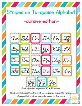 Stripes on Turquoise Themed Classroom ABC Cursive Printables