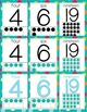 Number Posters 0-20 - Multi-Colored Polka Dots on Turquois