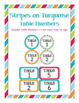 Stripes on TurquoiseThemed Table Numbers (only)