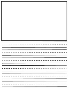 Dotted Lines Writing Paper with Drawing boxes