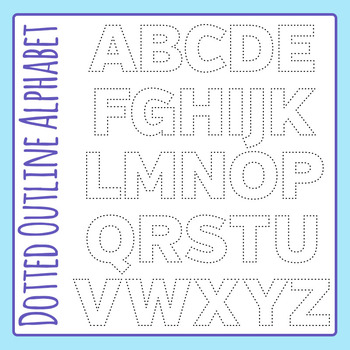 Dotted Outline Letters Clip Art Set for Commercial Use