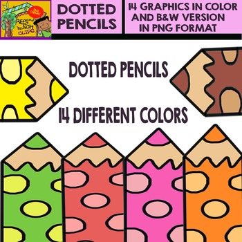 Dotted Pencil - Cliparts in 14 Different Colors