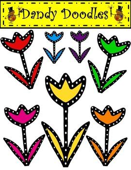 Dotty Tulips FREEBIE Clip Art by Dandy Doodles