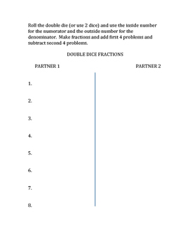 Double Dice Math Practice