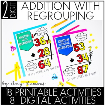 Double Digit Addition Activities (with regrouping) by Amy Lemons ...