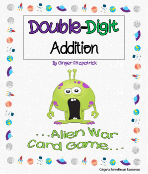 Double Digit Addition Alien War Card Game