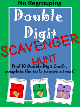 Freebie! Double Digit Addition (No Regrouping) Scavenger H