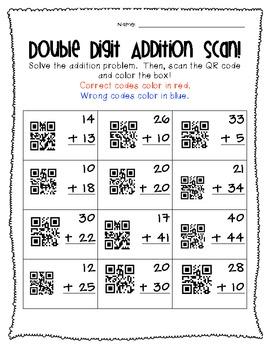 Double Digit Addition QR Code Freebie