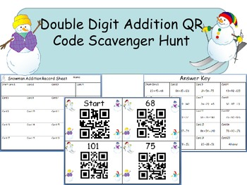Double Digit Addition QR Code Scavenger Hunt