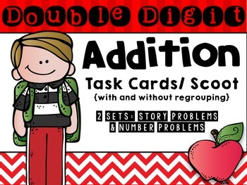 Double Digit Addition Scoot/Task Cards- Two Sets!